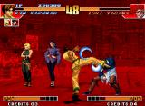 The King of Fighters '97 Neo Geo Kim Kaphwan uses one of his kickin' moves (Neri Chagi) in Orochi Iori, but he was fast to block it.