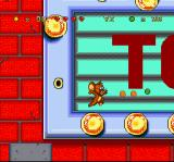 Tom and Jerry SNES Jumping across the lights of the marquee sign, Jerry is about to collect cheese bits and a marble!