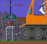 Tom and Jerry SNES Through a magnetic crane, Tom attempts to hit-attack a crouched Jerry bringing three walking rivets.