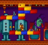 Tom and Jerry SNES This time, Jerry reaches a medium-range platform and, suddenly, he's back-damaged by an enemy tank.