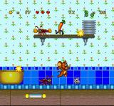 Tom and Jerry SNES In an attempt to hit-defeat one of the current enemies (cockroach and spinning rabbit), Jerry jumps.