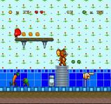 "Tom and Jerry SNES Finally! After having avoid the menaces of a living kitchen, Jerry reaches the ""Level Clear"" sign..."