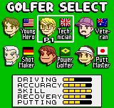 Neo Turf Masters Neo Geo Pocket Color Character selection.