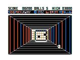 3-D Brickaway TRS-80 CoCo In game screenshot (color set changes after you hit your 1st brick)