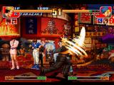 The King of Fighters '97 PlayStation Clark Steel attacks Ryuji Yamazaki at the exact time that he does his reversal-based move Sadomazo.