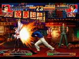 The King of Fighters '97 PlayStation Robert Garcia uses his blow Ryuugeki Ken against Chizuru Kagura, but she starts to avoid the attack.