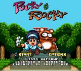 Pocky & Rocky SNES Title screen / Main menu