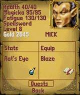 The Elder Scrolls Travels: Shadowkey N-Gage Character menu