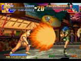 The King of Fighters '97 PlayStation Leona attempts to defend Ryo's Haou Shoukou Ken SDM: however, she's not have enough energy for this!