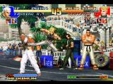 The King of Fighters '97 PlayStation Benimaru Nikaido's attempt to hit-damage Yashiro Nanakase was frustrated by his avoiding maneuver...