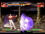 The King of Fighters '97 PlayStation Orochi Chris performs his SDM Daichi o Harau Gouka, aiming to put a quick finish in Robert's taunt.