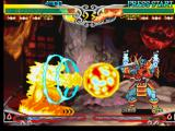 Darkstalkers 3 PlayStation Pyron strikes back Bishamon with his move Soul Smasher, but the samurai ghost doesn't reacts anyway!