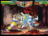 Darkstalkers 3 PlayStation Bishamon tries to hit-damage Anakaris, but he's suddenly hit-injured by Anakaris' attack Cobra Blow.