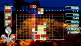 Lumines II PSP Challenge mode stage with a fire background