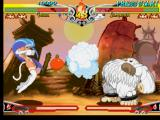 Darkstalkers 3 PlayStation Trying to damage Sasquatch, Felicia performs her move Cat Spike... even during his move Big Breath!