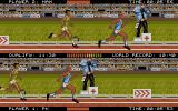 International Athletics DOS With multiple players, the games switches to split-screen more. Note the differing athletes sprites - each player can choose one of four models.