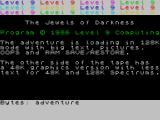Jewels of Darkness ZX Spectrum 128K loading screen