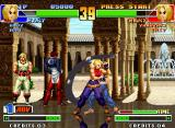 The King of Fighters '98: The Slugfest Neo Geo P2 Mary uses her Hammer Arch against P1 Mary, that strikes back using her move M. Reverse Facelock.