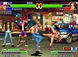 "The King of Fighters '98: The Slugfest Neo Geo Terry Bogard executing successfully a ""Guard Cancel Strike Attack"" against Mai Shiranui's offensive."