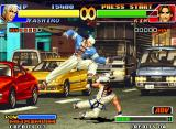 The King of Fighters '98: The Slugfest Neo Geo Yashiro Nanakase's move Sledgehammer in a direct-sudden clash with Kim Kaphwan's blow Ryuusei Raku.
