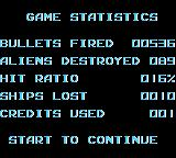 R-Type DX Game Boy Color Player's stats. Press start to continue.