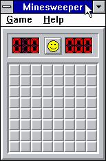 Microsoft Windows 3.1 (included games) Windows 3.x Minesweeper - A nice clean starting field on Beginner mode