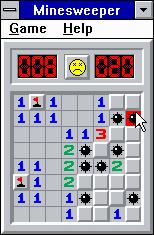 Microsoft Windows 3.1 (included games) Windows 3.x Minesweeper - That good luck couldn't hold out forever!