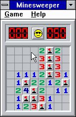 Microsoft Windows 3.1 (included games) Windows 3.x Minesweeper - Successfully completing a field.