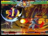 Darkstalkers 3 PlayStation Lei-Lei's (Hsien-Ko's) move Guillotine Swing being executed simultaneously to Demitri's Chaos Flare.