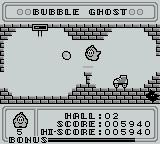 Bubble Ghost Game Boy Bubble Ghost can push the bubble along by blowing at it with the A Button