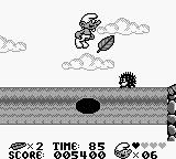 The Smurfs Game Boy This log turns every two seconds and if your on it when it does you fall to your death