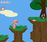 Quest for the Shaven Yak starring Ren Hoëk & Stimpy Game Gear Ren firing a special weapon: slices of bread.