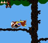 Quest for the Shaven Yak starring Ren Hoëk & Stimpy Game Gear Stimpy spiting at a woodpecker.