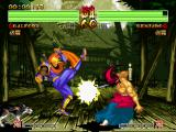 Samurai Shodown IV: Amakusa's Revenge PlayStation Kibagami Genjuro attempts to hit-damage Galford, but the American ninja strikes back using his kick.