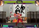 Shin Gōketsuji Ichizoku Tōkon: Matrimelee Neo Geo Anny takes advantage of Lynn's open guard and gets to do accurately a grabbing maneuver against her.