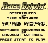 Race Drivin' Game Boy Title Screen