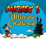 Mickey's Ultimate Challenge Game Gear Title screen.