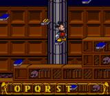 Mickey's Ultimate Challenge SNES Mickey's first puzzle: to order the books alphabetically, jumping over the right letters in the right order.