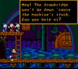 Mickey's Ultimate Challenge SNES Mickey must fix the draw-bridge.