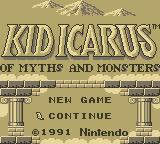 Kid Icarus: Of Myths and Monsters Game Boy Title Screen