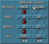 X-Men: Mojo World Game Gear Options screen.