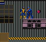 X-Men: Mojo World Game Gear Cyclops against a little Sentinel.