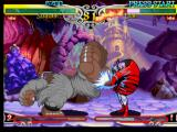Darkstalkers 3 PlayStation Sasquatch uses his spinning-like blow Typhoon Kick against Lilith Aensland, but she blocks on time.