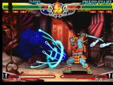 Darkstalkers 3 PlayStation Bishamon starts quickly a swording counterattack: his current goal now is to hit-stop Pyron's kick!