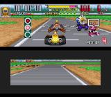 Saban's Power Rangers Zeo: Battle Racers SNES Course grid: about to start the running session, Yellow Ranger puts some RPM into her Dune Buggy...
