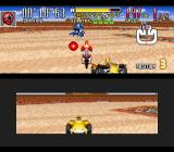 Saban's Power Rangers Zeo: Battle Racers SNES Red Ranger shots a Blaster against Blue Ranger, while Zeo Ranger 2 (Yellow) tries to be the 3rd one!