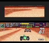 Saban's Power Rangers Zeo: Battle Racers SNES Grand Canyon 2 - Cog Soldier attempting to stay as far as possible of Green Ranger's action zone.