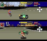 Saban's Power Rangers Zeo: Battle Racers SNES Both Green and Red Ranger collides quickly, but are ready to resume the bout (2P Bumper Chase mode).