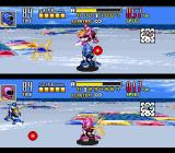 Saban's Power Rangers Zeo: Battle Racers SNES Zeo Rangers 3 (Blue) and 1 (Pink) in a simultaneous Blaster-based attack (2P Blaster Master mode)...