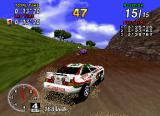 Sega Rally Championship SEGA Saturn Drifting around a corner on a mud track.
